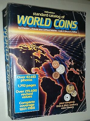 World Coins Catalog  (1989) EXPANDED Krause & Mishler Used Book 1792 pages