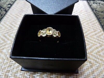 Womens 9ct Solid Gold Ring with Citrine & Peridot
