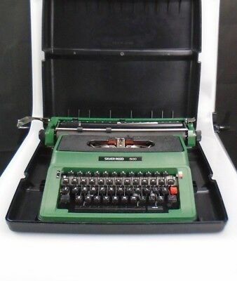 CC ~ Silver Reed 500 ~ Vintage Typewriter ~ Green ~ Black Carry Case ~ Quality
