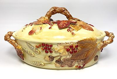 FITZ and FLOYD Classics Harvest Covered Vegetable Bowl Dish Autumn Thanksgiving