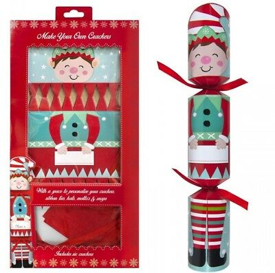 Pack Of 6 Make Your Own Personalised Christmas Crackers Hats Snaps - Cute Elf