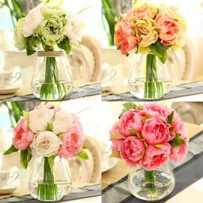 10heads Artificial Fake Flowers Roses Peony Silk Home Wedding party Floral Decor