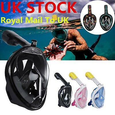 Full Face Snorkeling Mask Scuba Diving Swimming Breather Pipe For Adult GoPro UK