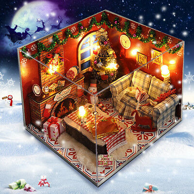 DIY Christmas Wooden Dollhouse Model Miniature Furniture Kit Toy Doll House Gift