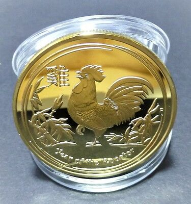 Year Of The Rooster - 1 Oz 0.999 Gold Layered Coin