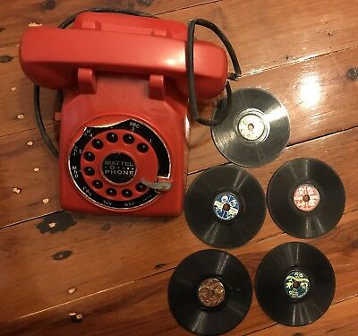 Vintage Mattel O Phone With 5 Records ( Not Working But Needs TLC To Fix!)