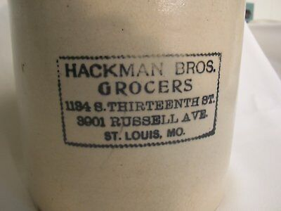 HACKMAN BROS. GROCERS ST. LOUIS MO. Stoneware Whiskey Jug Advertising 1 Gallon