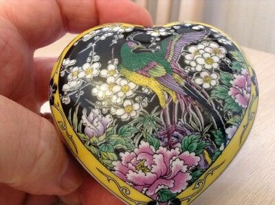 Very Pretty Heart Shaped Trinket Box Decorated With A Stylised Peacock