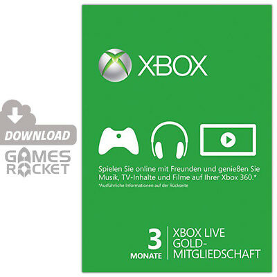 Xbox Live Gold - 3 Monate - offizieller Key Code Download | Xbox One Xbox 360