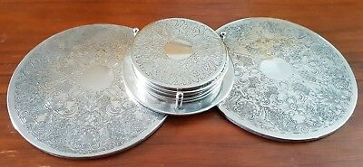 vintage silver plate place mats x 2 plus 6 coasters and rack