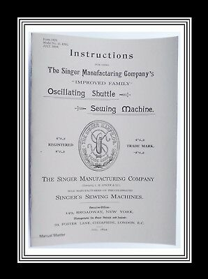 SINGER Oscillating Shuttle Model 15 Sewing Machine Manual (32 Page Manual)