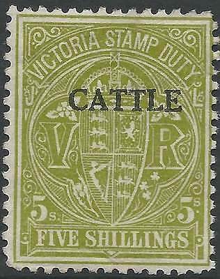 VICTORIA 1927-60 Stamp Duty 5/- Olive opted CATTLE Lightly hinged mint & rare
