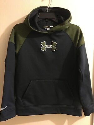 Under Armour Boys Youth Large Green And Black Hoodie