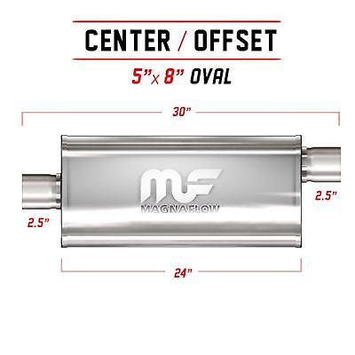 """2.5"""" 5x8 Oval 24inch Stainless Steel MagnaFlow Universal Exhaust Silencer 12286"""