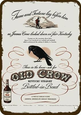 1946 OLD CROW Whiskey Vintage Look Replica Metal Sign JAMES CROW ON KENTUCKY