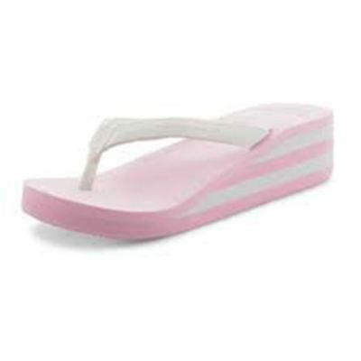 Pink / white wedge heel foam sandals
