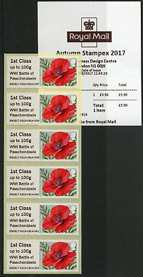 GB 2017 MNH WWI WW1 Passchendaele Post & Go Autumn Stampex 6v 1st Class Stamps