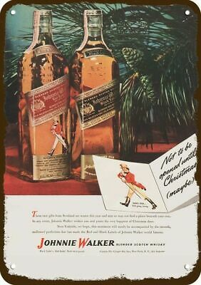 1946 JOHNNIE WALKER SCOTCH WHISKY Vintage Look Replica Metal Sign - CHRISTMAS