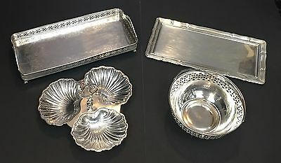 Sheffield HKE Lot of 4 Antique Silver Plate Pierced Trays Bowl Clam Shell Dish