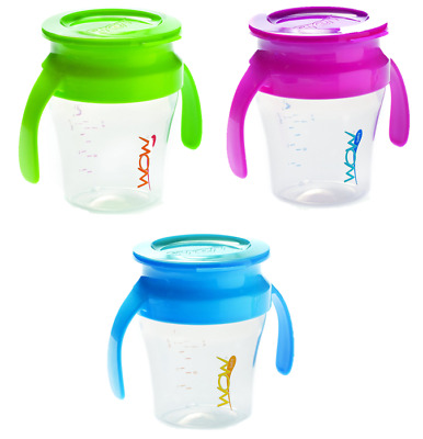 Wow Cup Spill Free 360 Drinking Edge, Sippy Cup 8 Months +, 3 Colours
