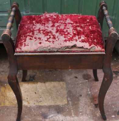 Old Solid Wooden Piano Stool With Lift Up Lid To Reupholster
