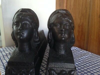 Pair Of Vintage Cast Iron Firedogs / Andirons