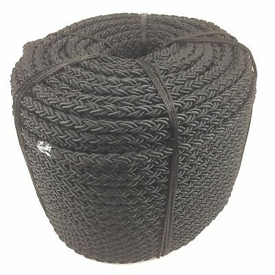 10mm 8 Support Nylon Noir Câble x 50mts, ancre amarrage multiplait octoplait