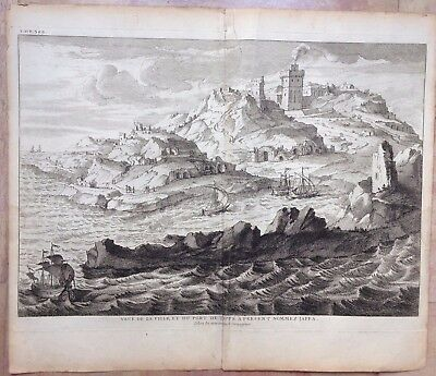 ISRAEL CITY OF JAFFA 1730 by CALMET LARGE & NICE COPPER ENGRAVED VIEW XVIII CENT