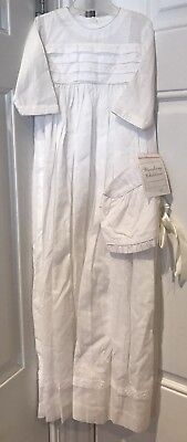 NWT $200 STRASBURG EMBROIDERED 6 Mos LINED WHITE CHRISTENING GOWN SET W/ BONNET