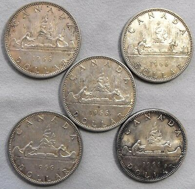 Lot of 5 1966 Canadian Silver Dollars 80% Silver -- No Reserve