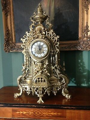 Very Impressive Brass Rococo French Style Mantle Clock