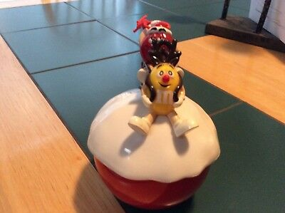 m&m large xmas ornament w/ red and yellow guys on top Red ornament