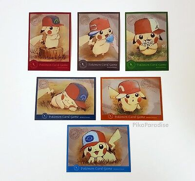 Set of 6 Pikachu Pokémon Center Official Single Sleeves + Random Cards (In UK)