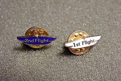 Vintage Metal Airline Flight Wings Lapel Pins Badges 1st & 2nd Flight White Blue