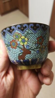 Antique Chinese cloisonne teabowl blue ground