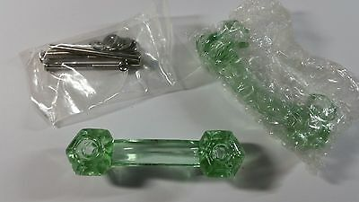 Lot of 2 Retro Coke Bottle Green Depression Era Glass Drawer Pulls Handles