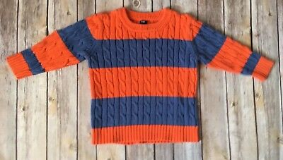 Baby Gap Toddler Boy Cable Knit Sweater Size 2 Years Orange Striped