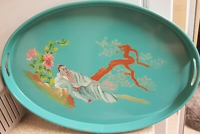 Unusual vintage Chinese Lacquered tray HAND PAINTED