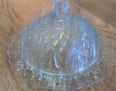 Vintage Clear Cut Glass Round Dome Butter/cheese Ball Dish - 4 1/2""