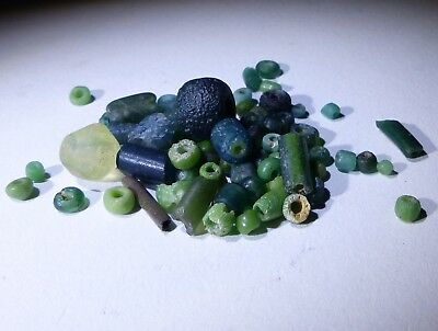 Ancient Roman Green Glass Beads Circa 2Nd Century Ad - No Reserve!!!!!!!