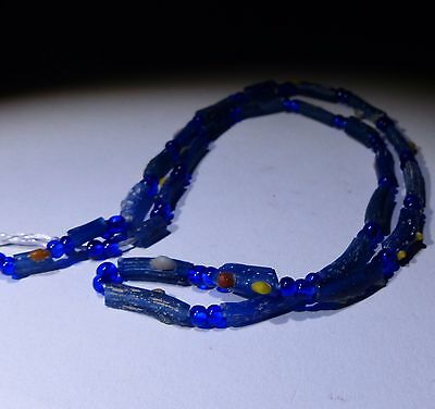 Ancient Roman Blue Glass Bead Necklace - Circa 2Nd Century Ad - No Reserve 22