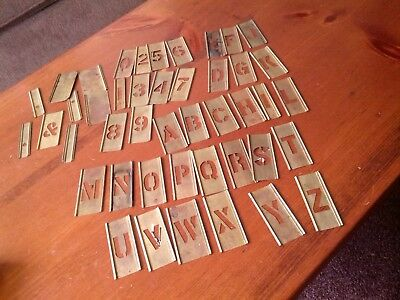"Reese's Adjustable Brass Stencils 1"" Gothic Figures &Numbers COMPLETE SET"