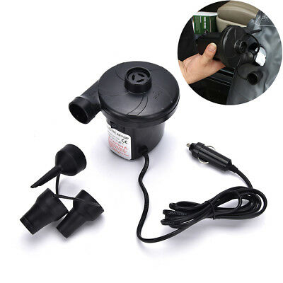 12V Car Auto DC Electric Air Pump Inflator +3 Nozzles AirBed Mattress Boat HLUS