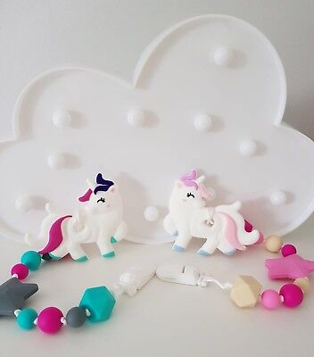 Unicorn Silicone Teether Beaded Clip Sophie Giraffe Free Delivery