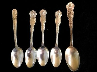Lot of 5 Antique Silver Plate Commemorative Spoons, Wm Rogers