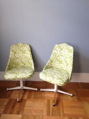 Mid Century Modern Dinette Floral Swivel Chairs 2 Pc Dinette Set HOWELL