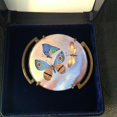 Outstanding Original  Art Deco Enamel And Brass Brooch Butterfly Design C 1925
