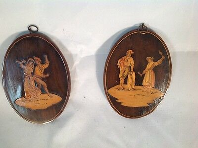 Superb Pair Antique Sorrento Ware Plaques In Finely Detailed Inlaid Boxwood