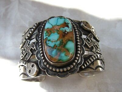 Early Navajo Coin Silver Snakes/whirling Logs Cuff              C1920's