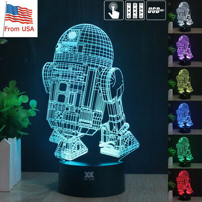 Star Wars R2-D2 3D Acrylic LED Night Light Table Desk Lamp 7 Color Touch Gifts